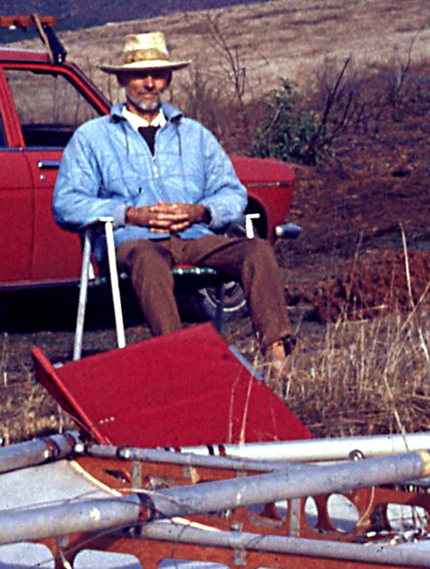 Richard Miller watching Frank Colver set up the Skysail for flying.