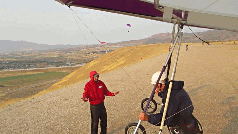 My first high flight in a hang glider in 39 years - wing camera view.