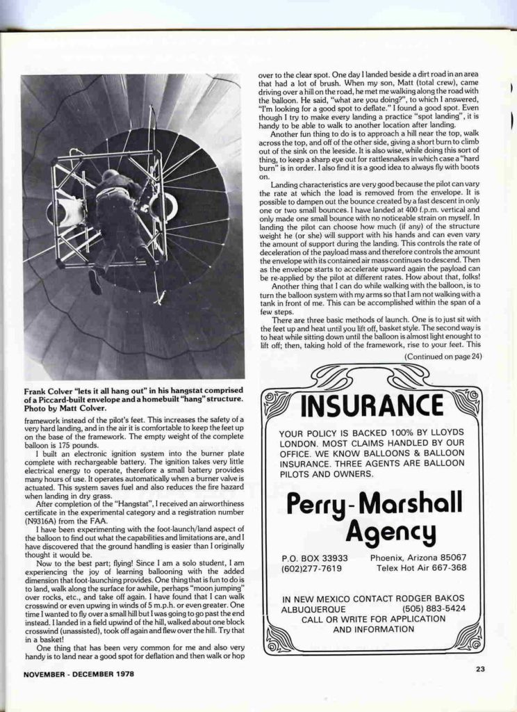2nd page of the Hangstat balloon article shown with Frank Colver hovering above.